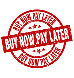 Buy now pay later round red grunge stamp vector