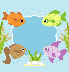 cartoon background card with fish vector image vector image