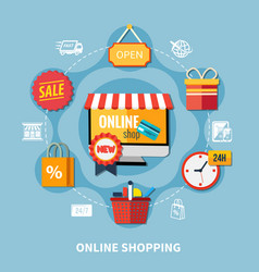Ecommerce colored composition vector
