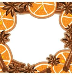 Frame - cinnamon star anise and orange vector