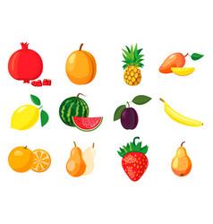 fruits icon set cartoon style vector image