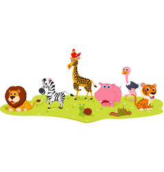happy wild animal cartoon vector image