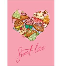 heart cake vector image