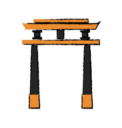 japan gate torii architecture landmark vector image vector image