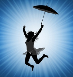Jumping woman with umbrella vector