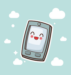 kawaii smartphone character cartoon vector image