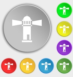 Lighthouse icon sign symbol on eight flat buttons vector