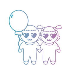Line cute babies together with hairstyle and vector