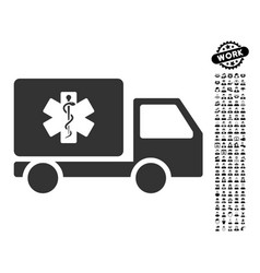 Medical shipment icon with job bonus vector