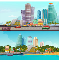 Miami waterfront cartoon banners set vector