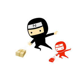 ninja boy jump and send a product box art vector image vector image
