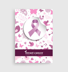 Pink nature icon breast cancer awareness poster vector