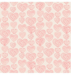Seamless pink hearts vertical pattern vector image