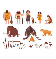 set of stone age theme primitive people children vector image