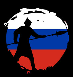 Warrior silhouette on russia flag and black vector