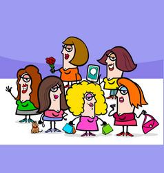 woman cartoon people characters group vector image