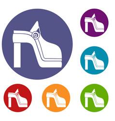 women shoe icons set vector image vector image