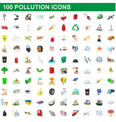 100 pollution icons set cartoon style vector image