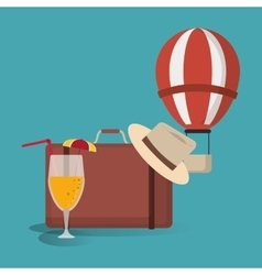 Hot air balloon suitcase hat cocktail travel vector