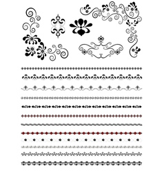 Corners and borders with floral patterns vector
