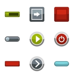 Kind of buttons icons set flat style vector image