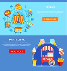 Amusement park 2 flat interactive banners vector