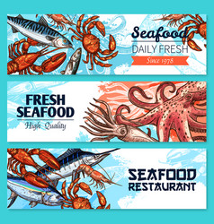 Seafood restaurant banners sketch set vector