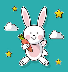 cute bunny hugs carrot cloud and star background vector image