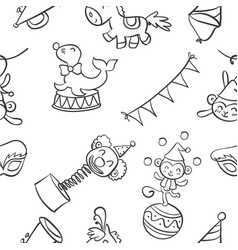 Collection circus object of doodles vector