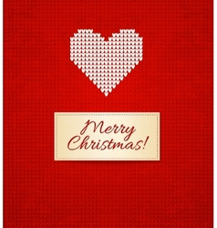 Christmas knitting background with heart vector