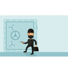 Man in black hacking bank safe vector