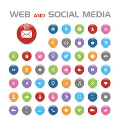 50 social media buble icons vector image