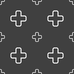 Plus icon sign seamless pattern on a gray vector