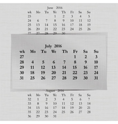 Calendar month for 2016 pages july start monday vector