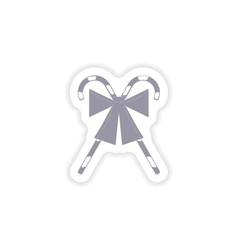 Paper sticker on white background candy bow vector
