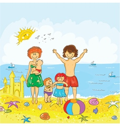 family at the beach vector image