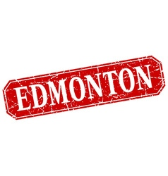 Edmonton red square grunge retro style sign vector