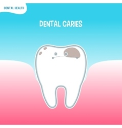 Cartoon bad tooth icon with dental caries vector