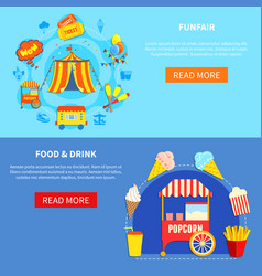 Amusement park 2 flat interactive banners vector