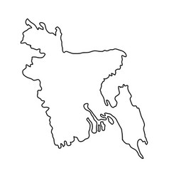 bangladesh map of black contour curves on white vector image