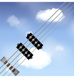 Bass guitar strings over sky vector