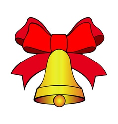 bell with red bow vector image vector image