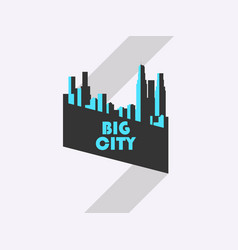 Big city banner with ribbon bauhaus style vector