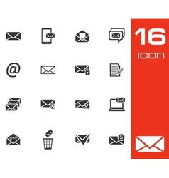 Black email icons set on white background vector