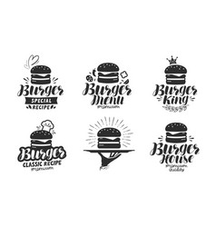 burger fast food logo or icon emblem label for vector image