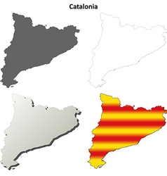 Catalonia blank outline map set - catalan version vector