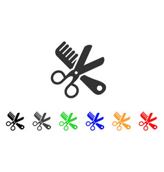 comb and scissors tools icon vector image
