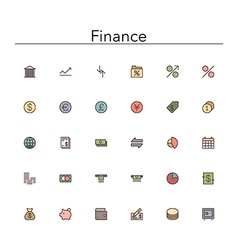 Finance Colored Line Icons vector image vector image