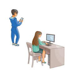 Flat girl using pc boy with smartphone vector