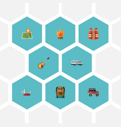 Flat icons lifesaver suv fire and other vector